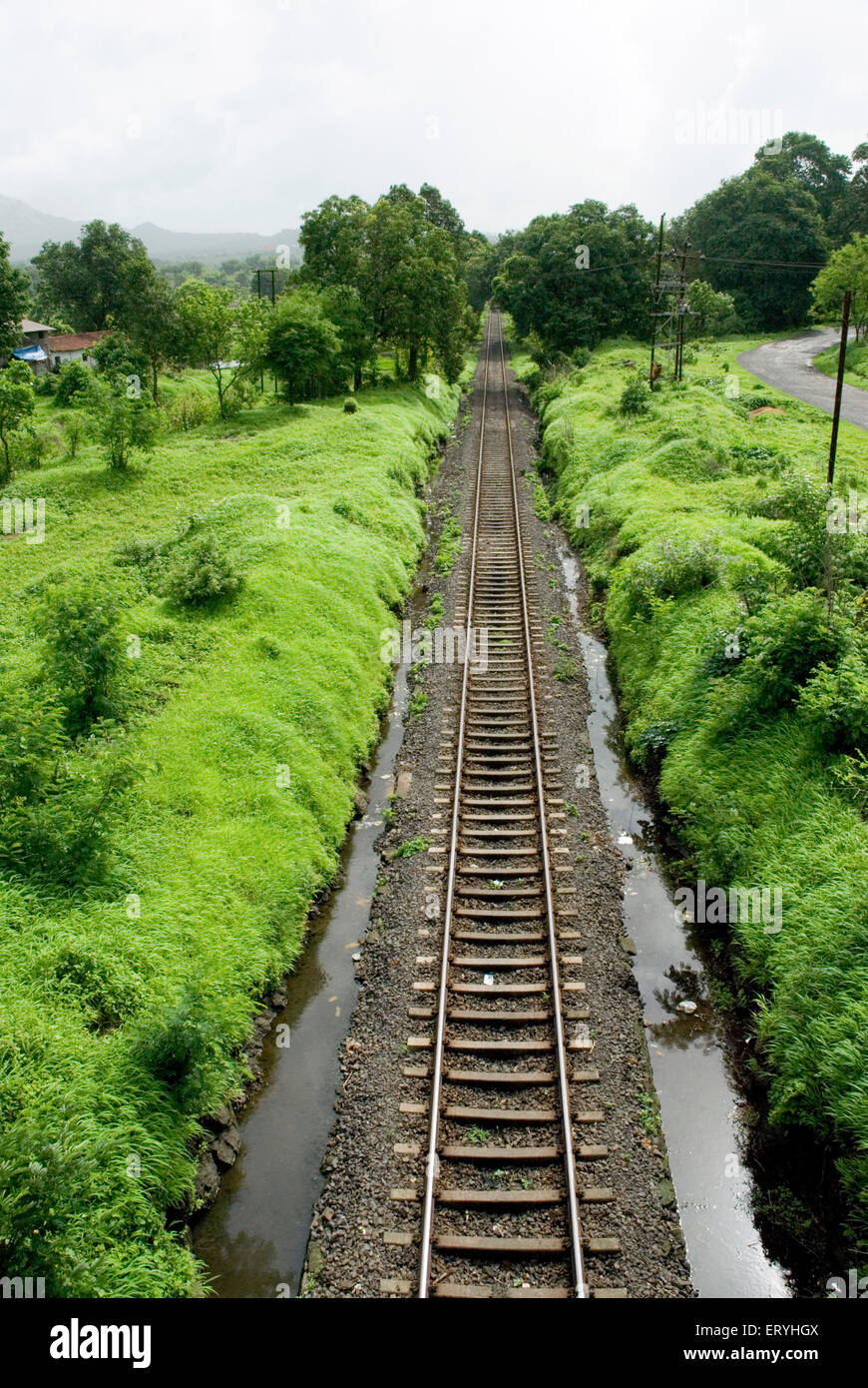 Railway iron tracks ; Raigadh district ; Maharashtra ; India - Stock Image