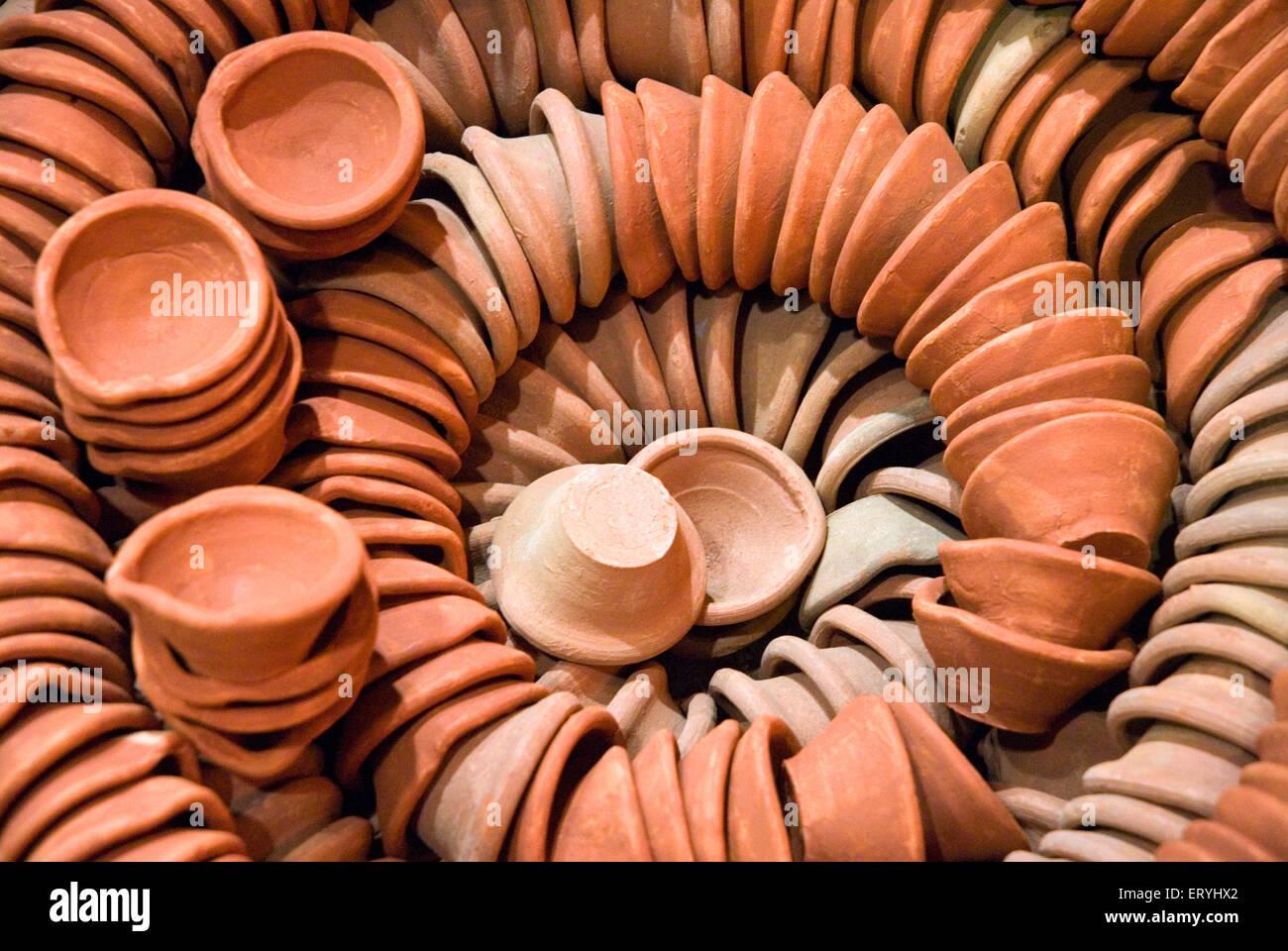Earthenware terracotta oil lamps on diwali deepawali festival - Stock Image
