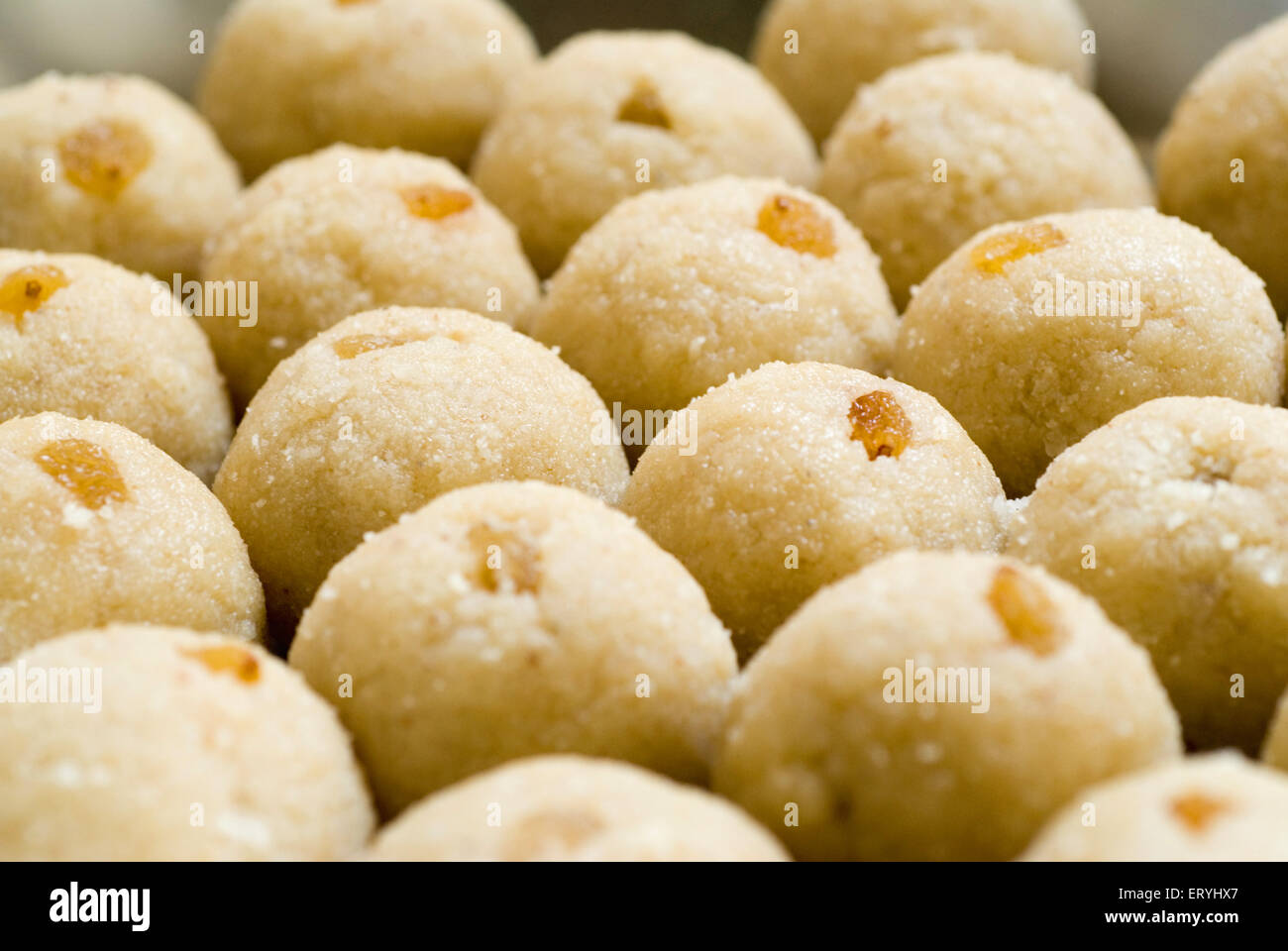 Sweetmeat ; rava semolina laddoo ladu with resins - Stock Image