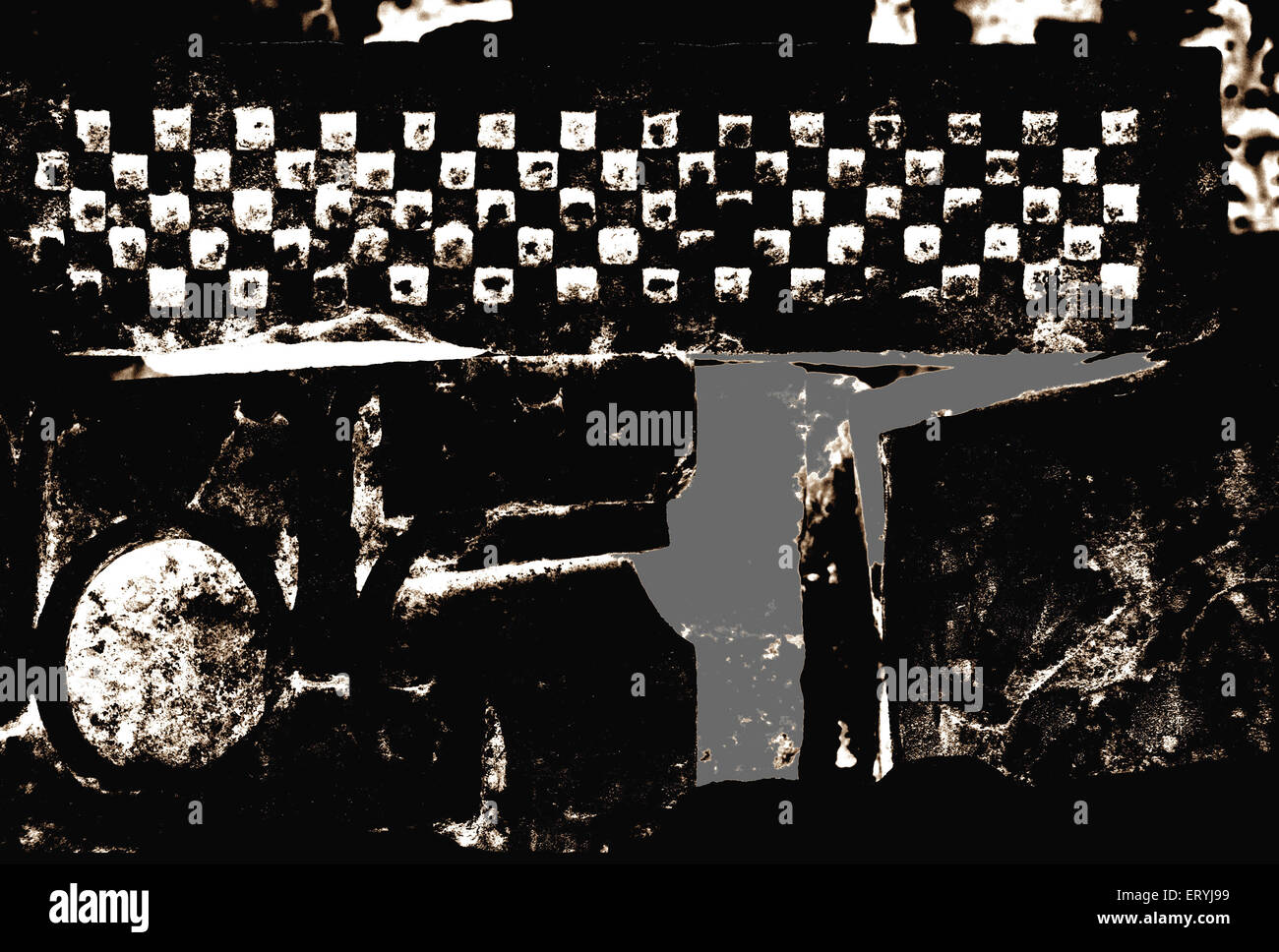 Black and white abstract digital art  ; India - Stock Image
