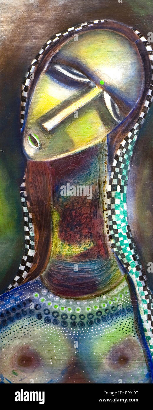 Rural woman painting acrylic on canvas art ; India - Stock Image