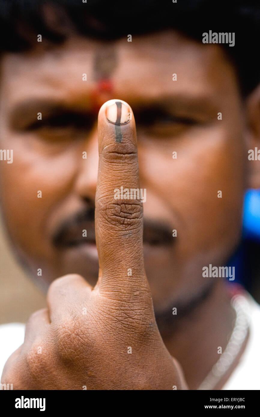 Voter showing ink election ; Bombay Mumbai ; Maharashtra ; India 2009 NO MR - Stock Image