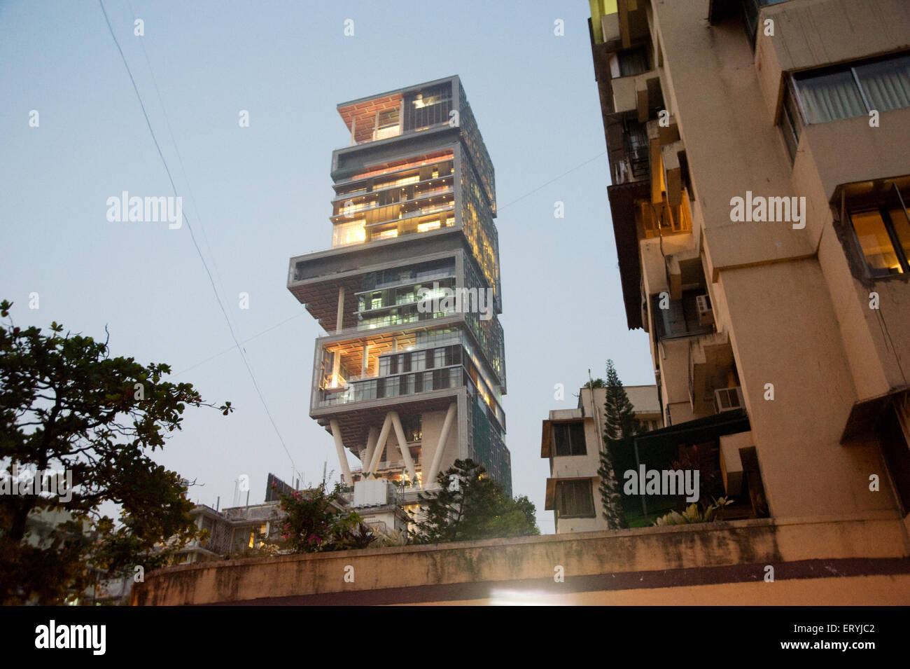 Antilla house of  mukesh ambani Bombay Mumbai Maharashtra India Stock Photo