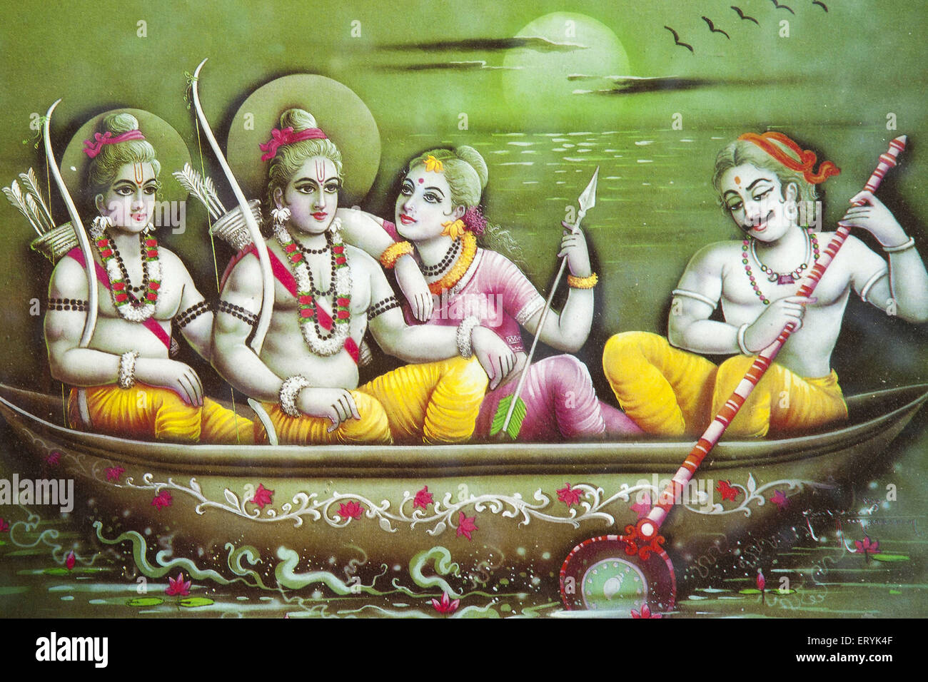 Painting Of Lord Ram Laxman And Sita In Boat India Stock Image