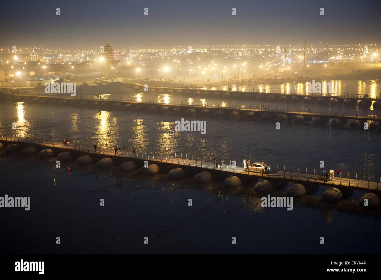 Pontoon Bridges near Triveni Sangam at uttar pradesh India - Stock Image