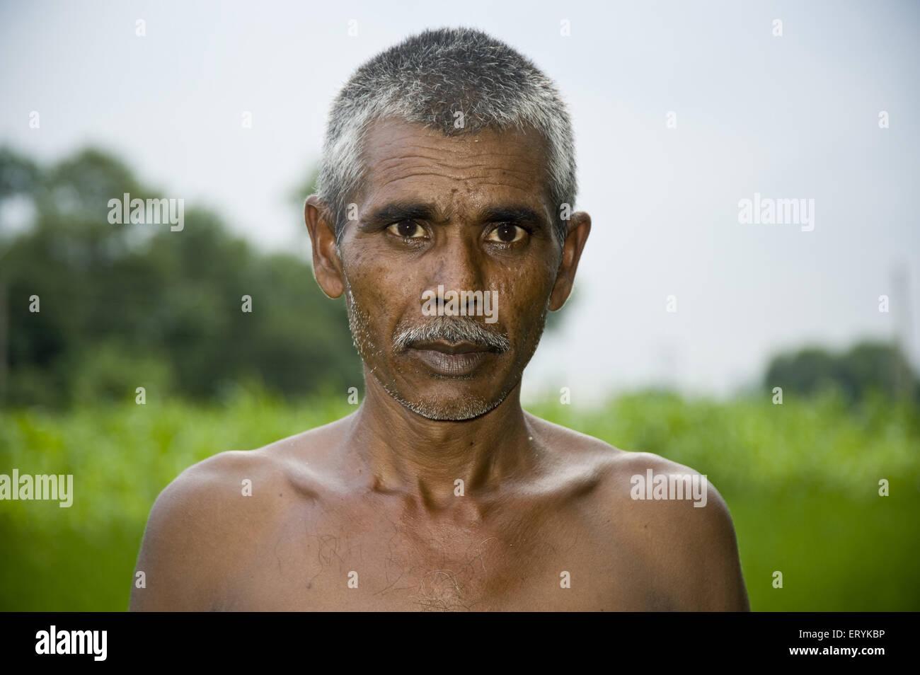 farmer in rice field jaunpur uttar pradesh India MR#707 H - Stock Image