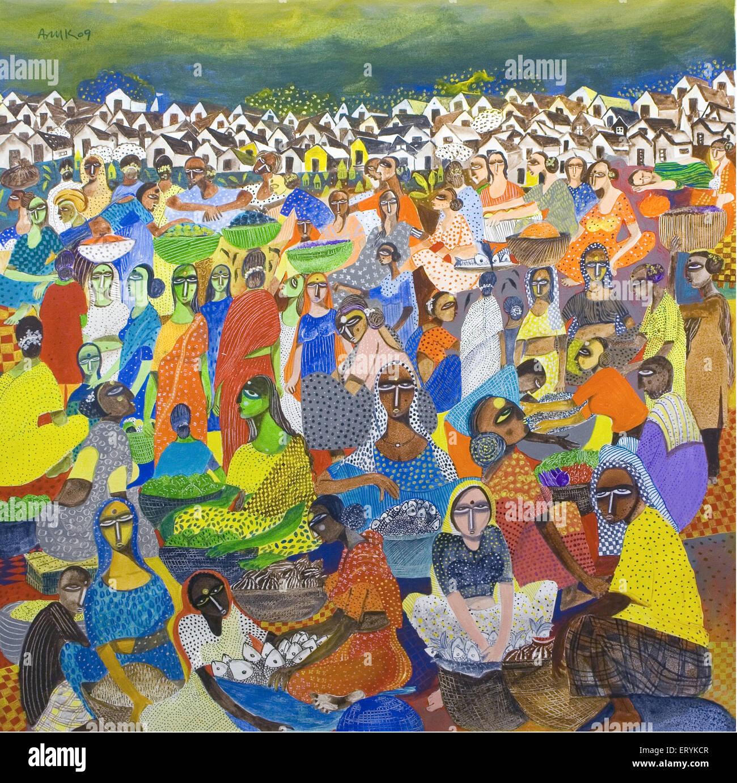 Village market painting India - Stock Image