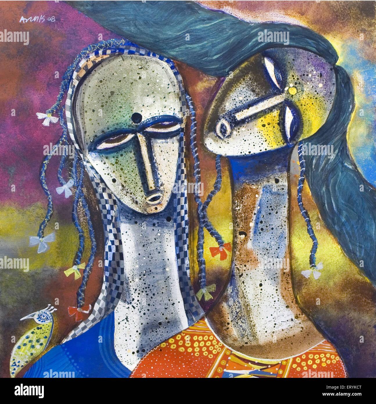 girls acrylic painting India - Stock Image