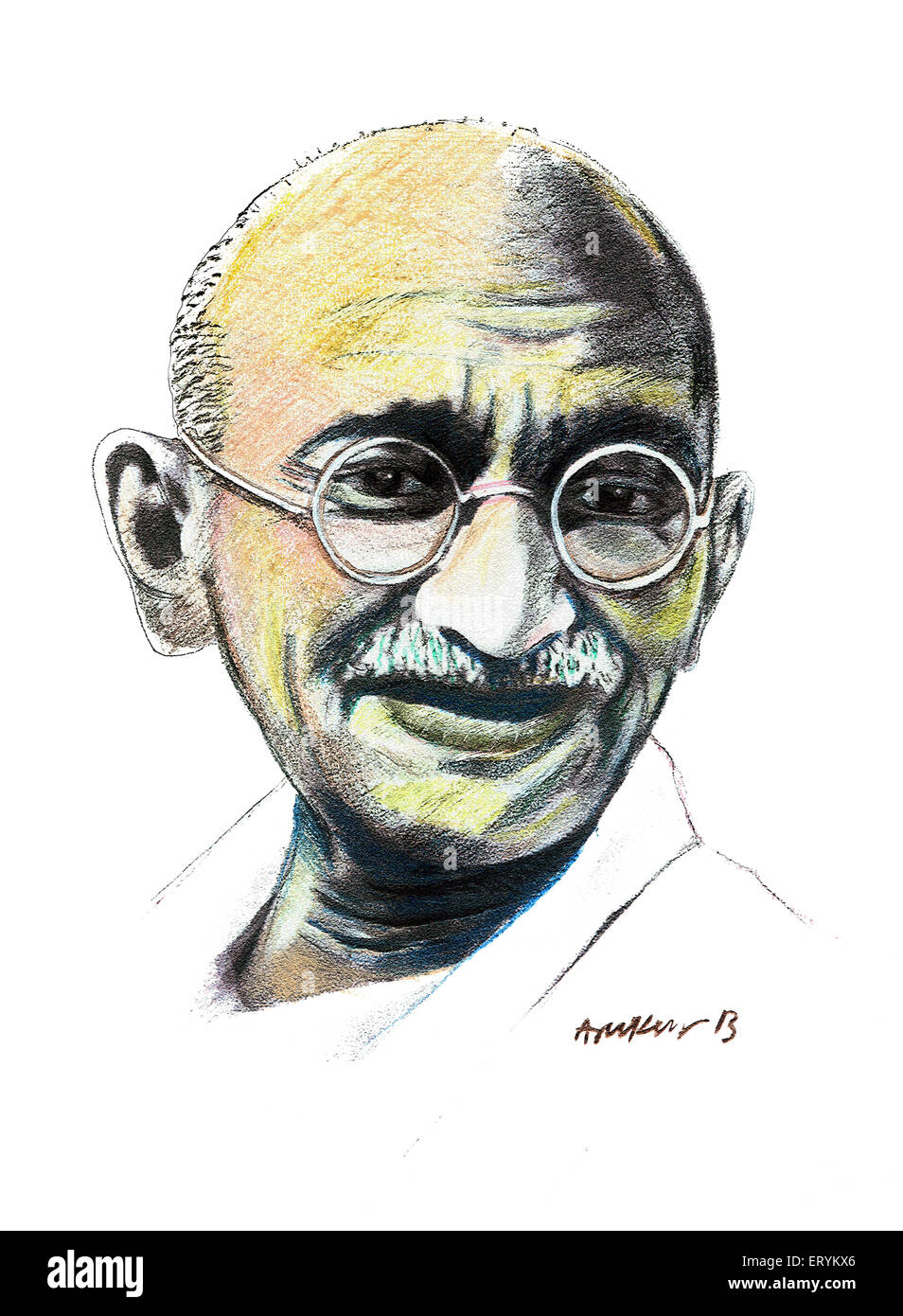 Mahatma Gandhi Painting Stock Photos & Mahatma Gandhi