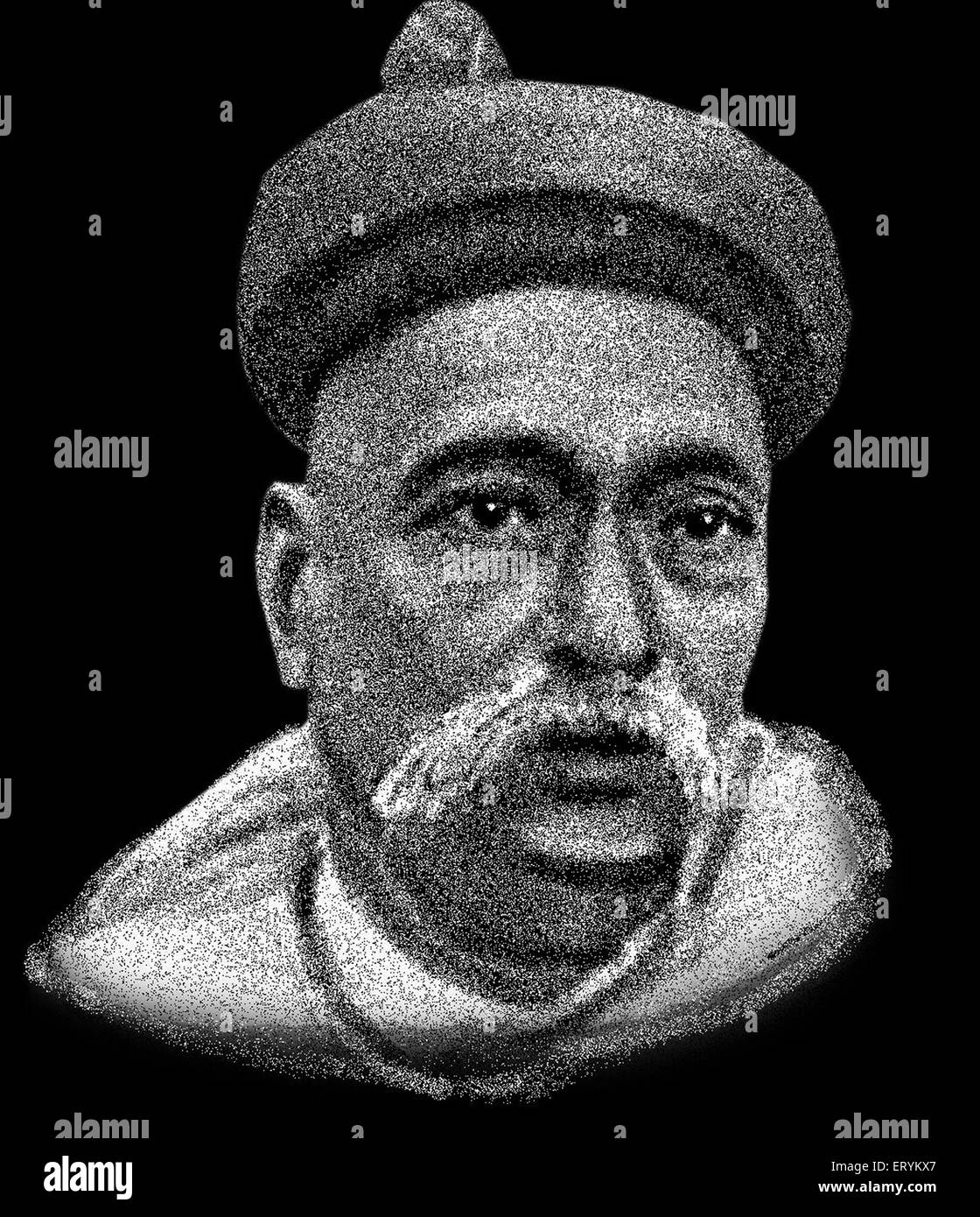 Drawing of Freedom Fighter of India Bal Gangadhar Tilak - Stock Image