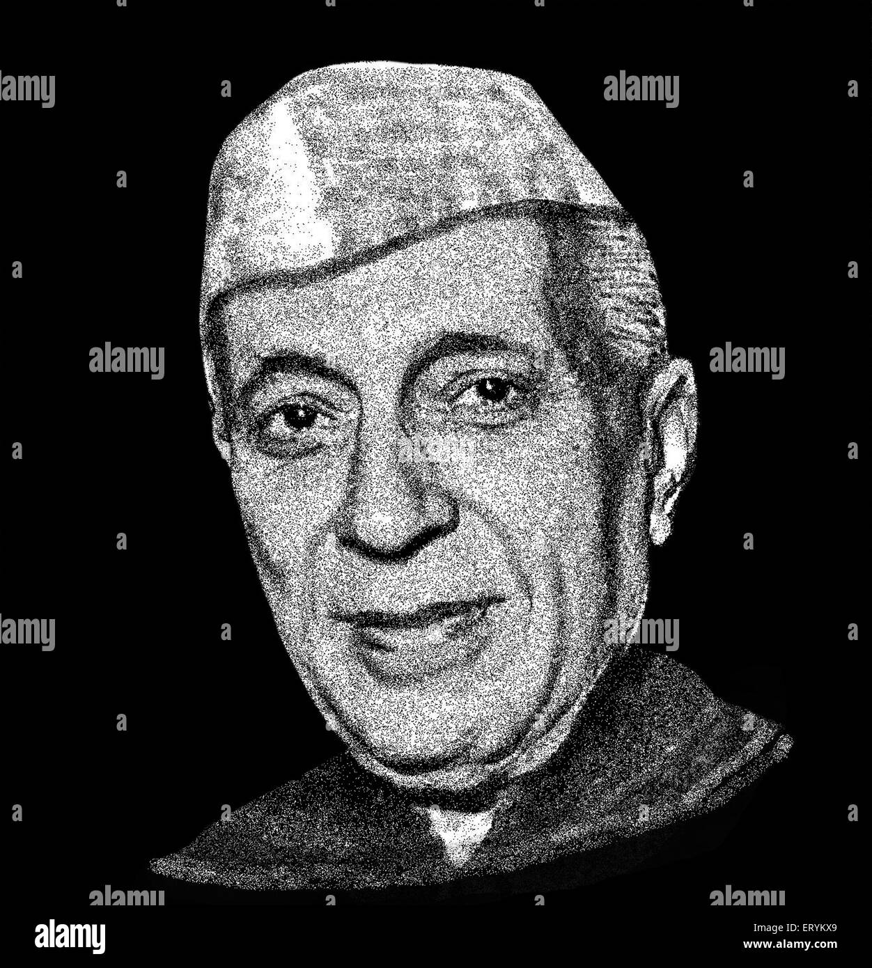 Drawing of Freedom Fighters of India  Pandit Jawaharlal Nehru - Stock Image