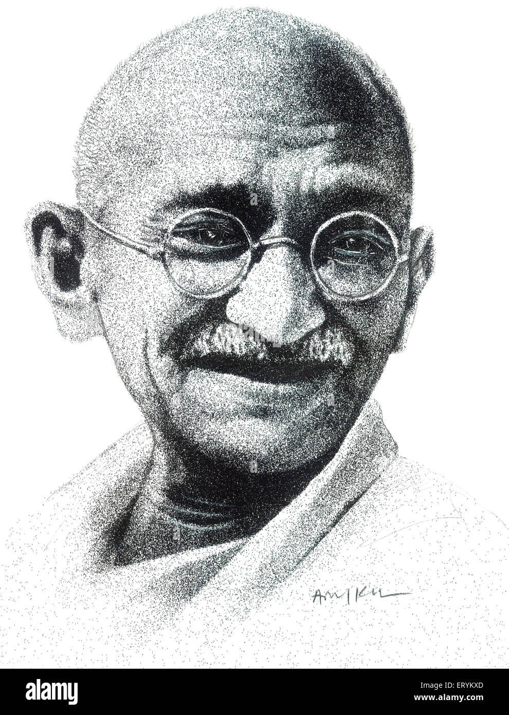 Drawing of mohandas karamchand gandhi stock photo 83586901