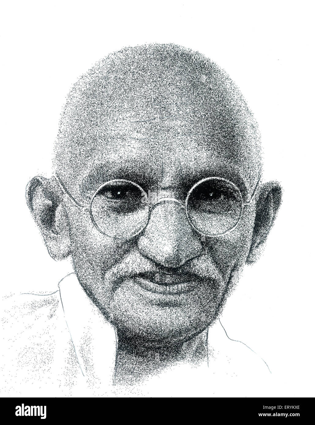 Drawing of Freedom Fighters of India  Mohandas Karamchand Gandhi - Stock Image