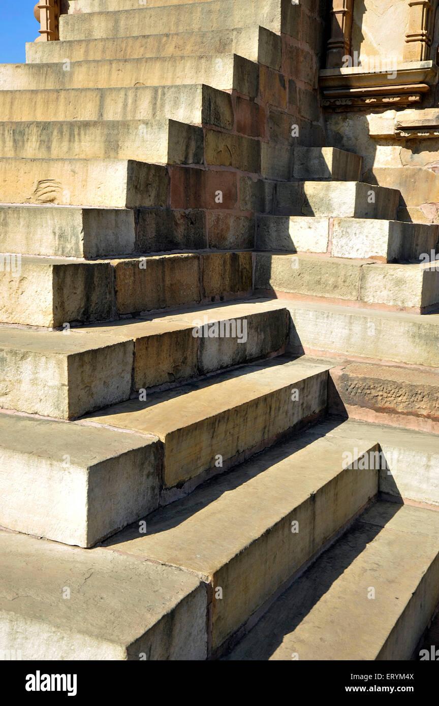 Sand stone stair case in Khajuraho Madhya Pradesh India Asia - Stock Image