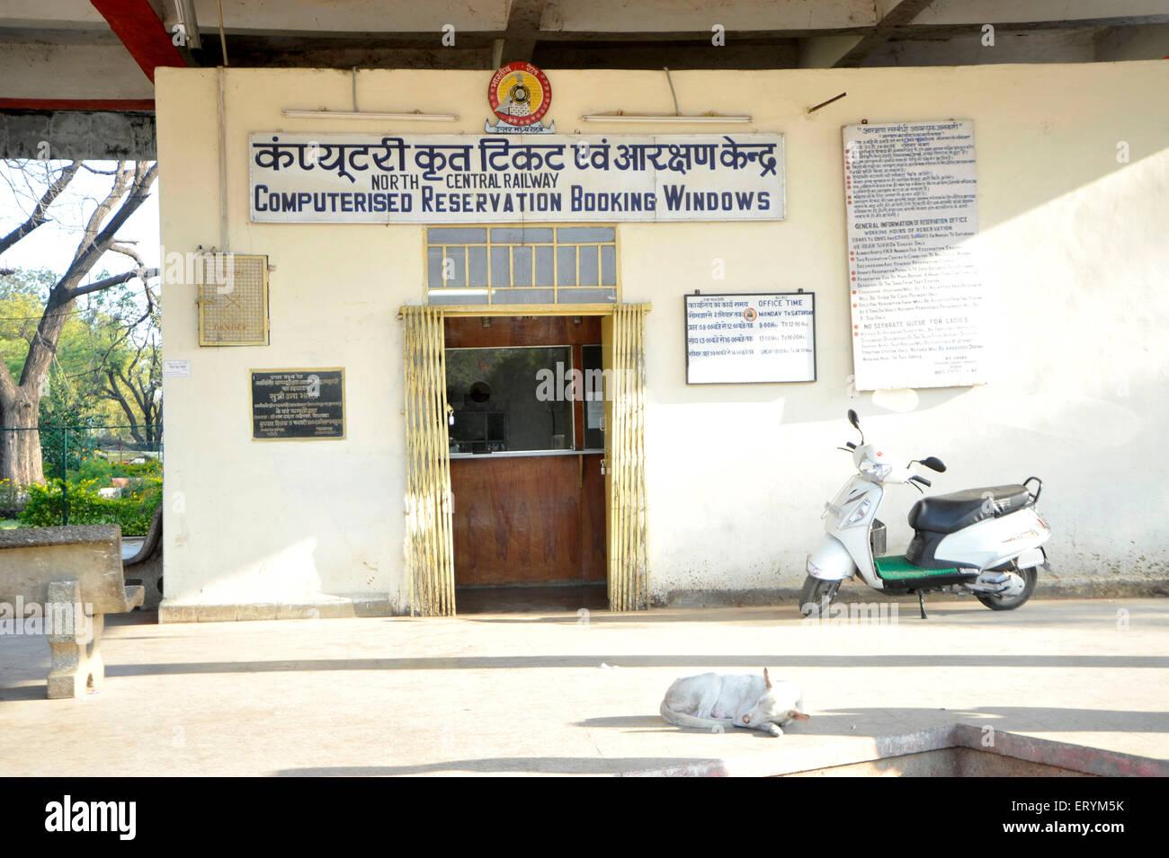 Train reservation booking window Khajuraho Madhya Pradesh India Asia - Stock Image