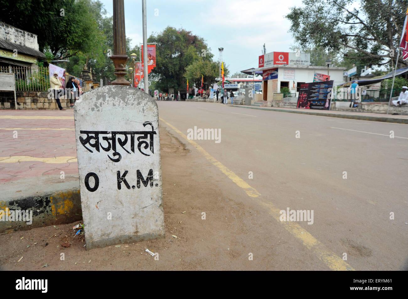 horizontal  Zero Milestone At Khajuraho  MP   0 km  0 kilometre  road Madhya Pradesh India Asia - Stock Image