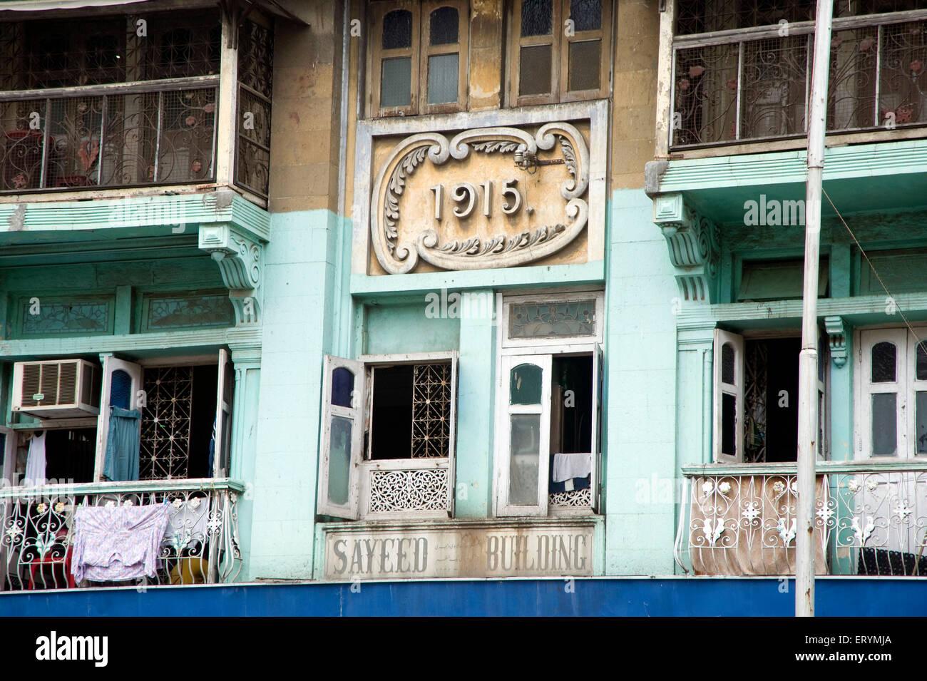1915  Bombay old Sayeed building Grant road Mumbai Maharashtra India Asia - Stock Image