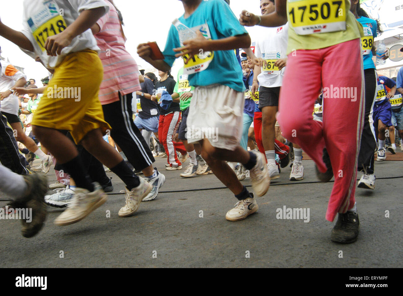 People running in international marathon 2005 in ; Bombay ; Mumbai ; Maharashtra ; India - Stock Image