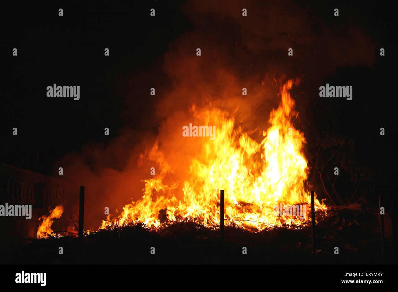 Garbage on fire - Stock Image