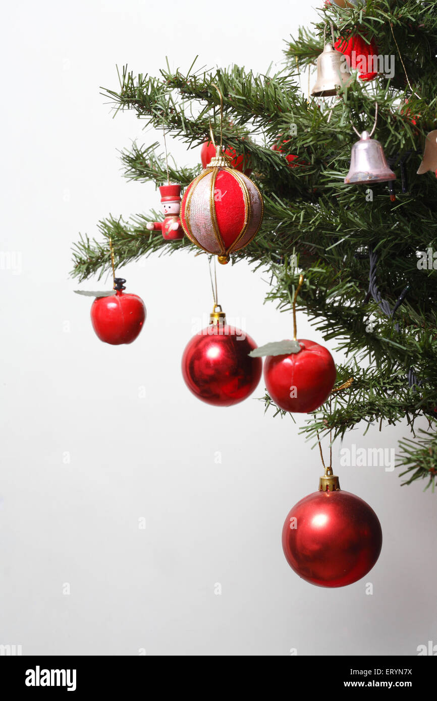 Christmas tree decorated with balls and bells in Christmas festival Stock Photo