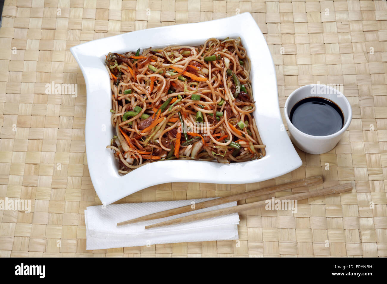 Chinese Food  Vegetable Noodles with Soya Sauce India PR#743AH - Stock Image