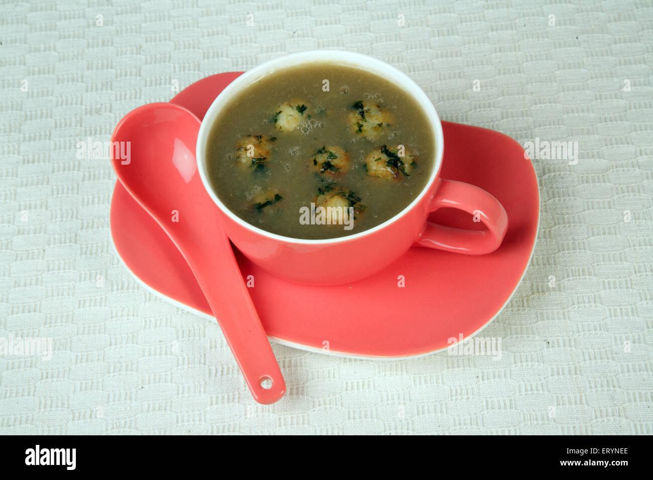 Non Vegetarian Food soup with veg balls India Asia PR#743AH - Stock Image