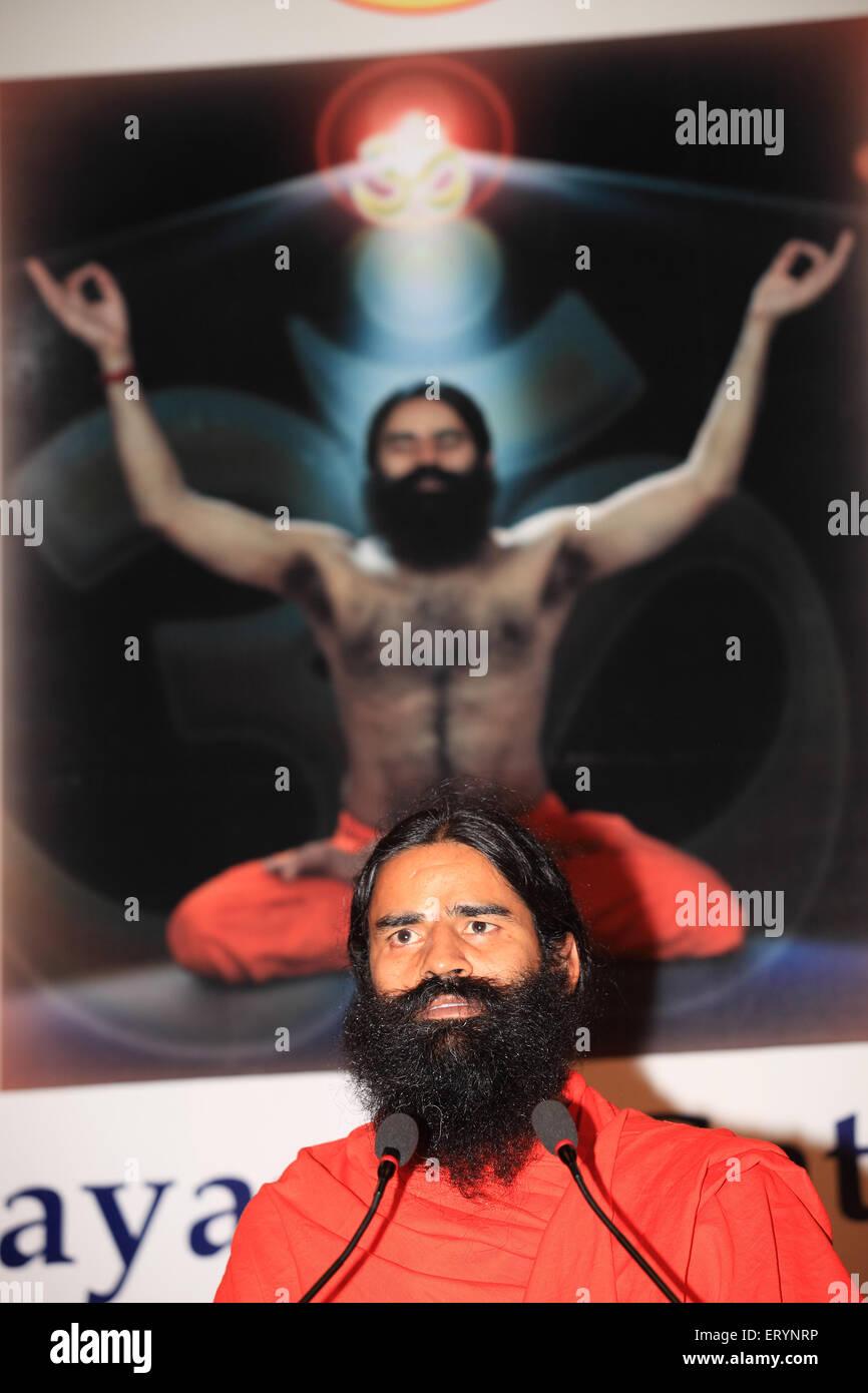 Yoga guru baba ramdev ; Bombay ; Mumbai ; Maharashtra ; India NOMR - Stock Image