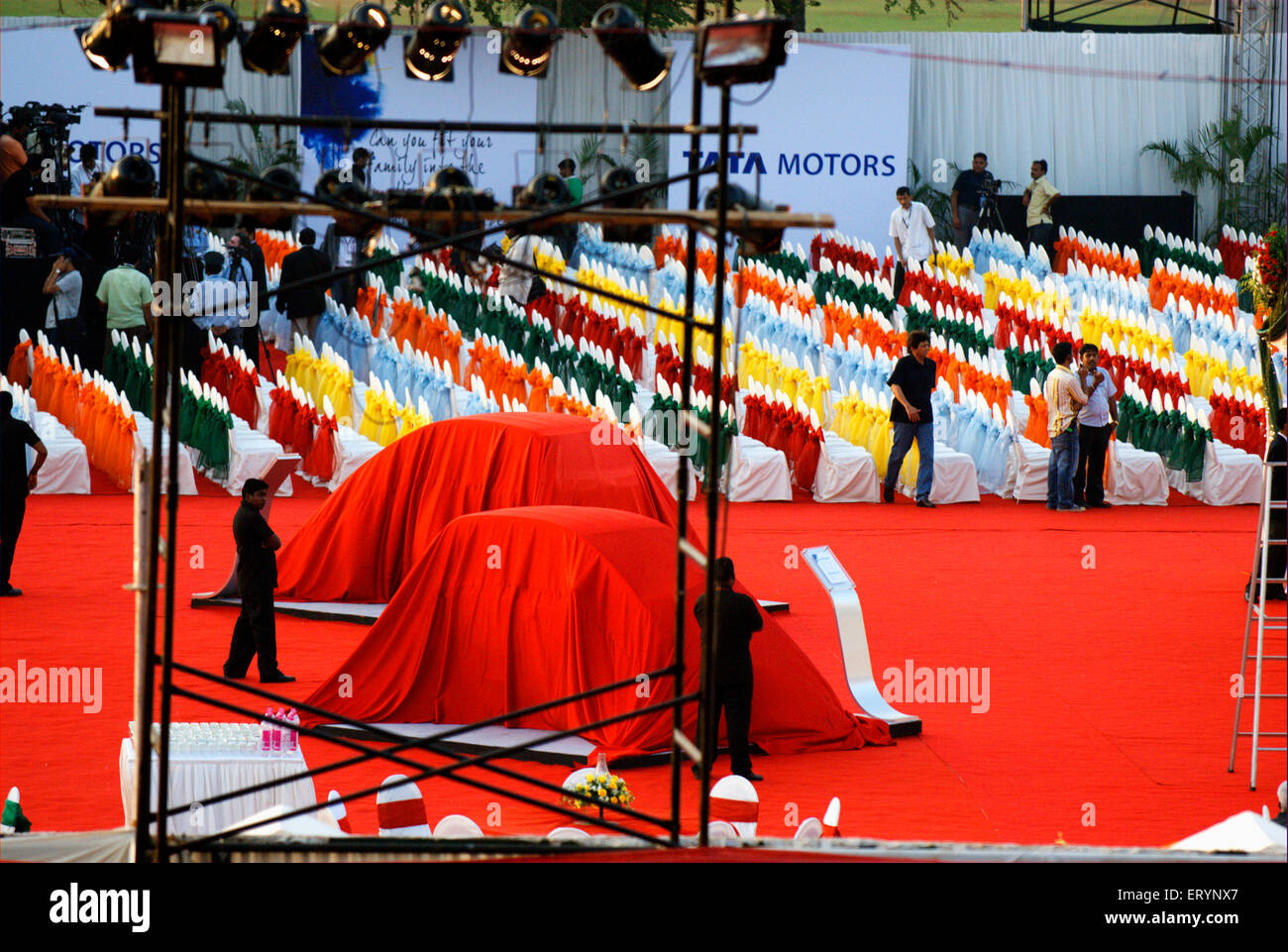 Tata Motor Tata Nano car veiled prior to launch ; Bombay Mumbai ; Maharashtra ; India - Stock Image