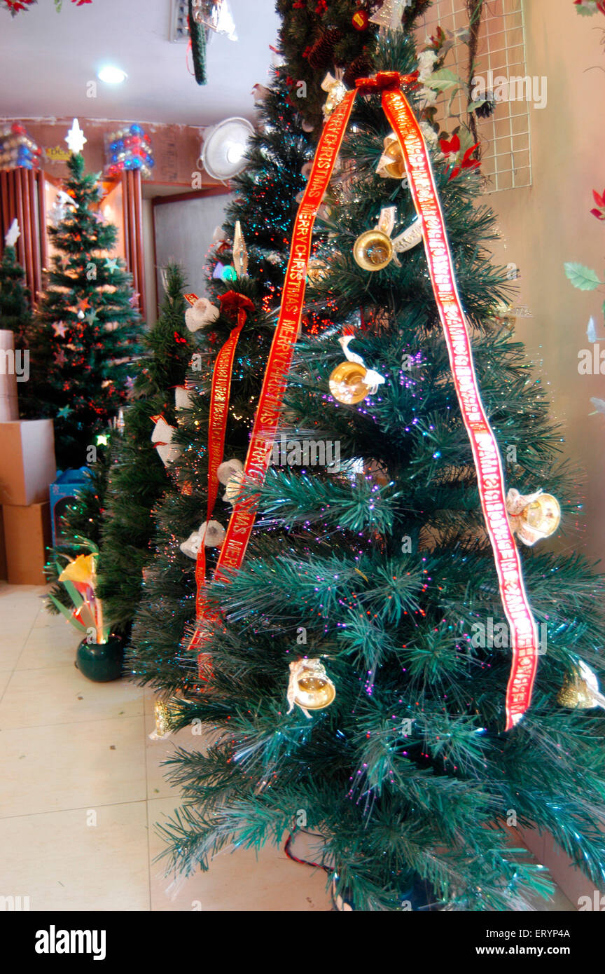 artificial decorated christmas trees for sale at bandra in bombay mumbai maharashtra india