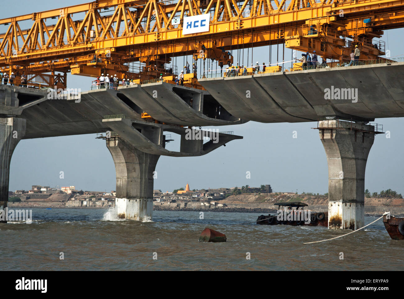 Giant iron truss used to lift the last block in construction Bandra Worli Sea link at Worli Bombay Mumbai - Stock Image