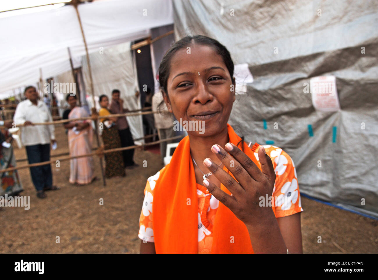 Delighted voter after casting vote in elections ; Bombay Mumbai ; Maharashtra ; India NO MR 30 April 2009 - Stock Image