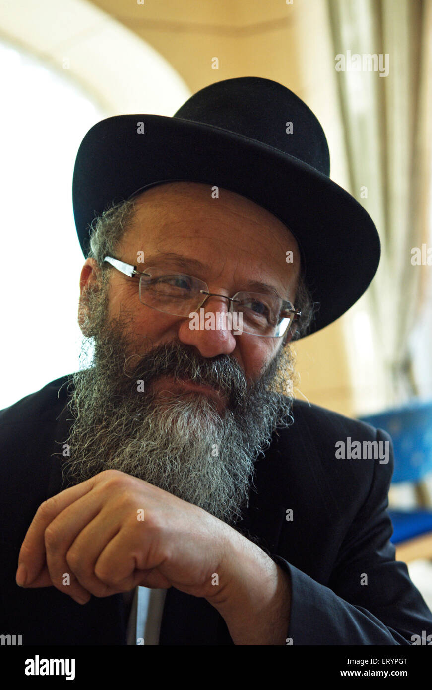 Nachman Holtzberg victim in terrorists attack by deccan mujahedeen in Nariman House at Bombay Mumbai - Stock Image