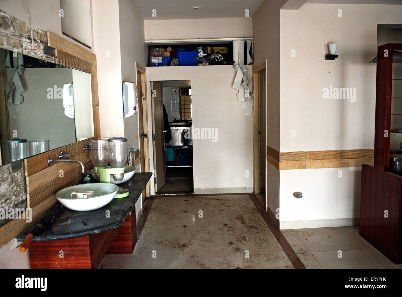 Blood stains room at nariman house jewish community centre by deccan mujahedeen terrorists attack in Bombay - Stock Image