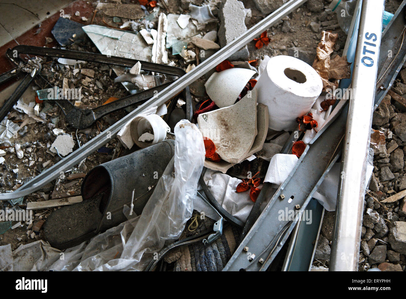 Debris at nariman house jewish community centre by deccan mujahedeen terrorists attack in Bombay - Stock Image