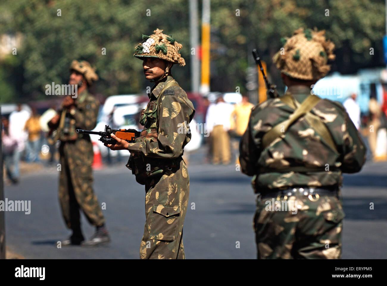Military outside Taj Mahal hotel after terrorist attack by deccan mujahedeen ; Bombay Mumbai Stock Photo