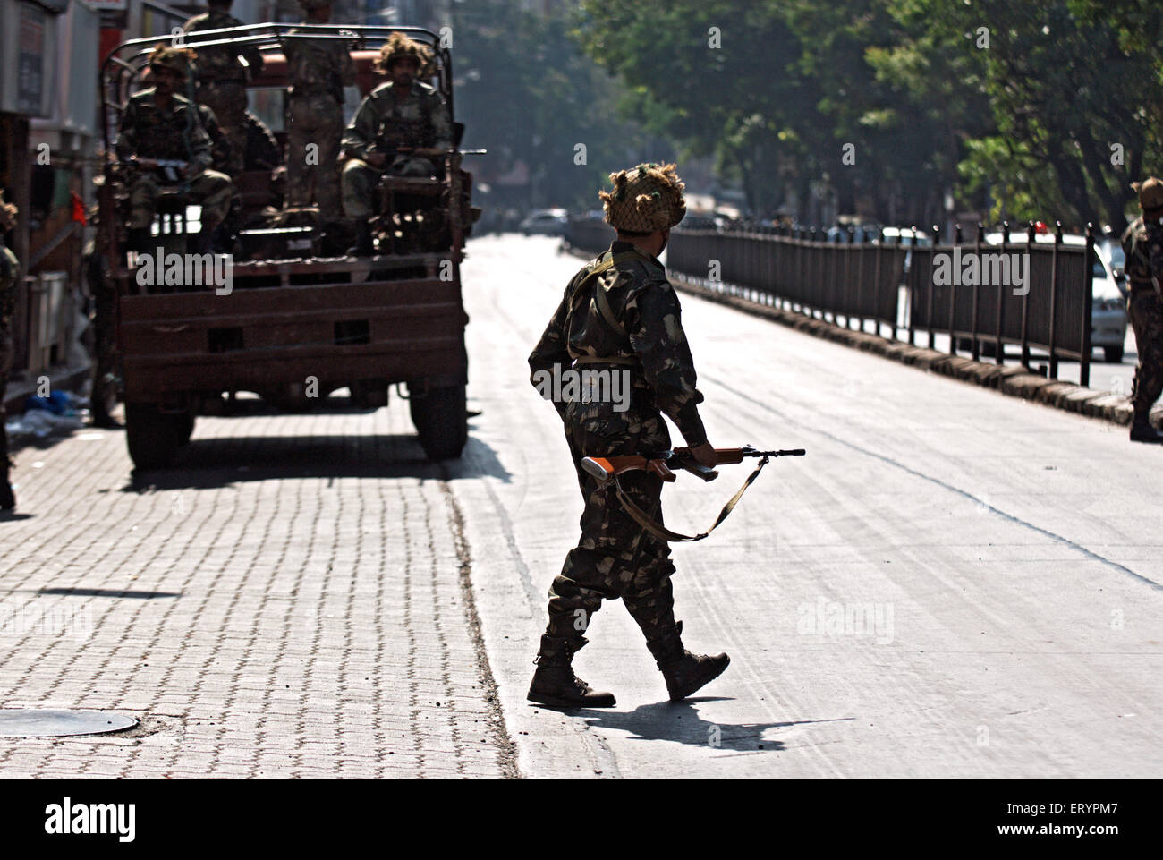 Military outside Taj Mahal hotel after terrorist attack by deccan mujahedeen ; Bombay Mumbai Stock Photo