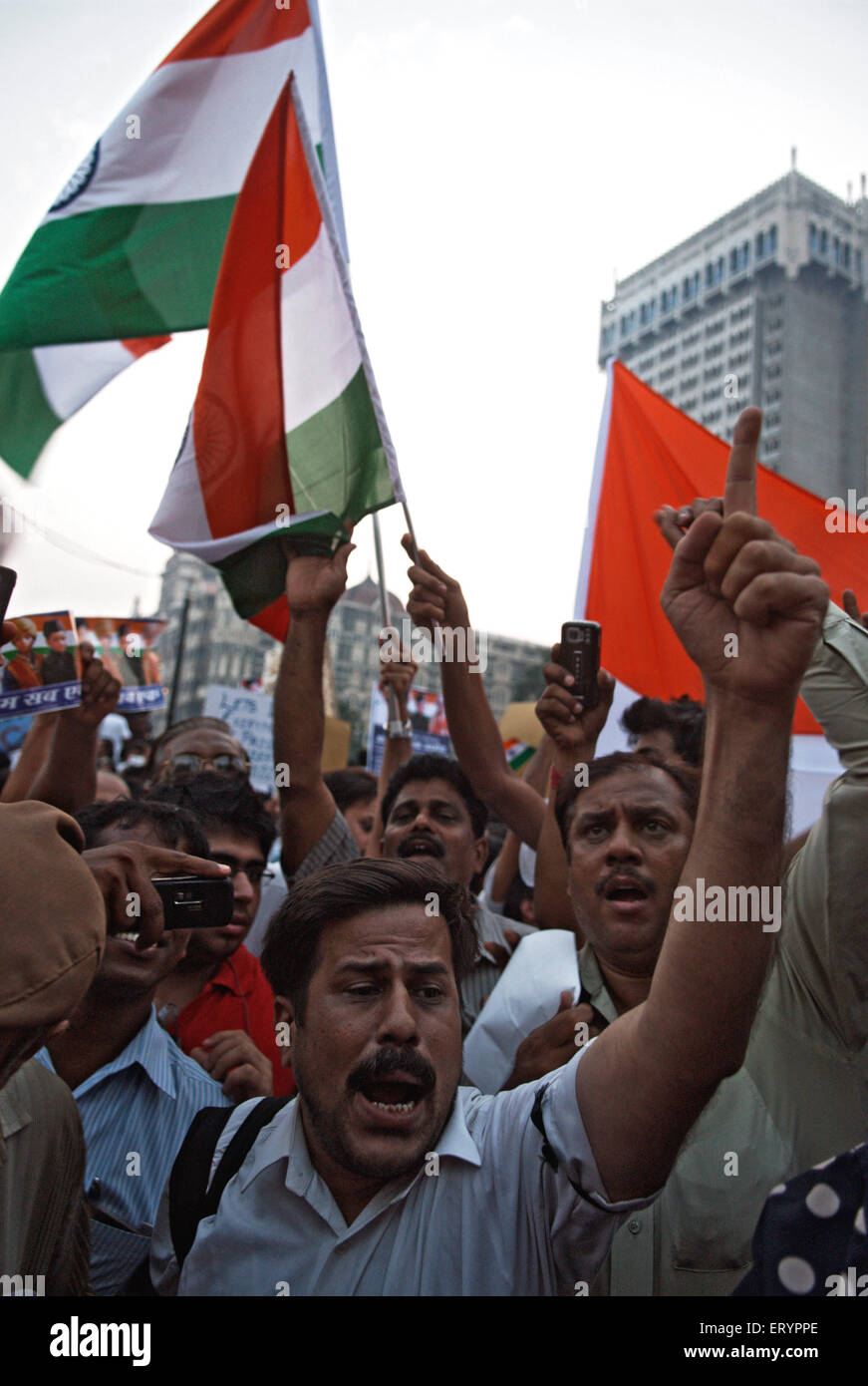 Protester after terrorist attack by deccan mujahedeen in Bombay Mumbai  ; Maharashtra  ; India 3 December 2008 NO - Stock Image