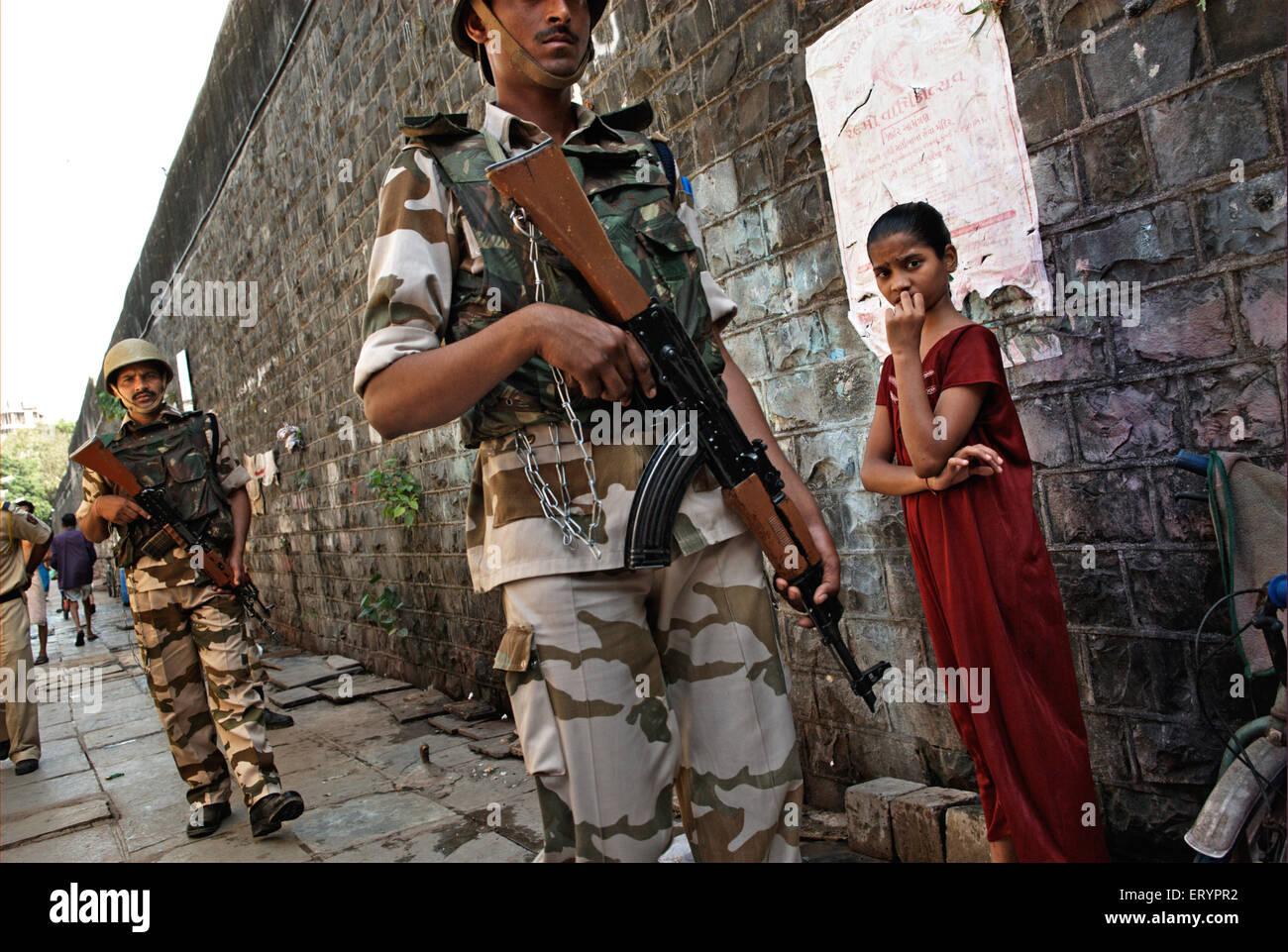 Indo Tibetan border force ITBF commandos at arthur road jail in Bombay Mumbai  ; Maharashtra  ; India 17 April 2009 - Stock Image