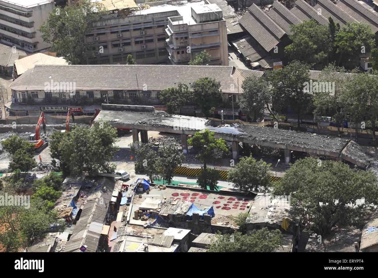 Aerial view of Lalbaug flyover work in Bombay Mumbai ; Maharashtra ; India - Stock Image