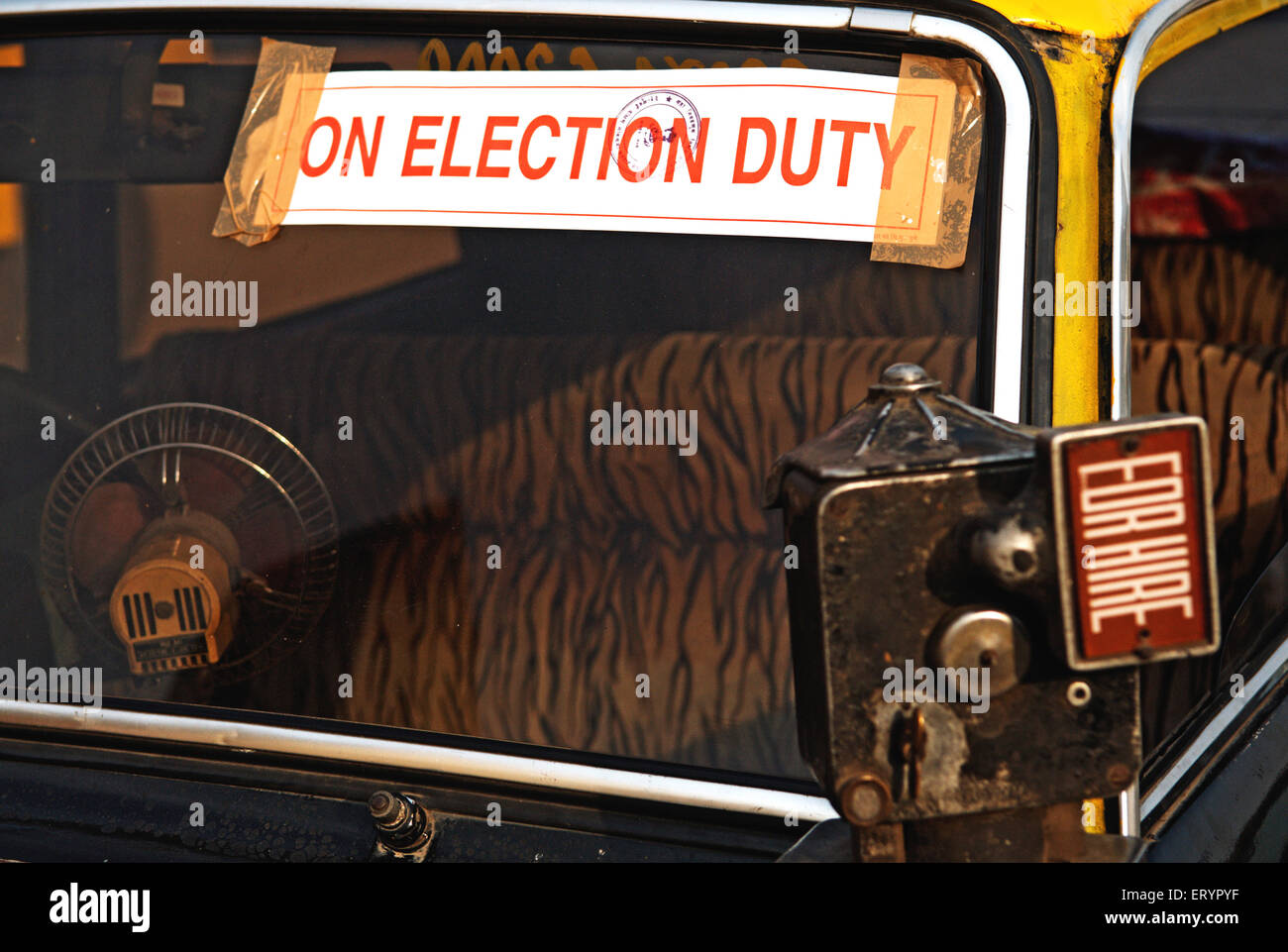 Meter of taxis hired for election duty in Bombay Mumbai  ; Maharashtra  ; India 29 April 2009 - Stock Image