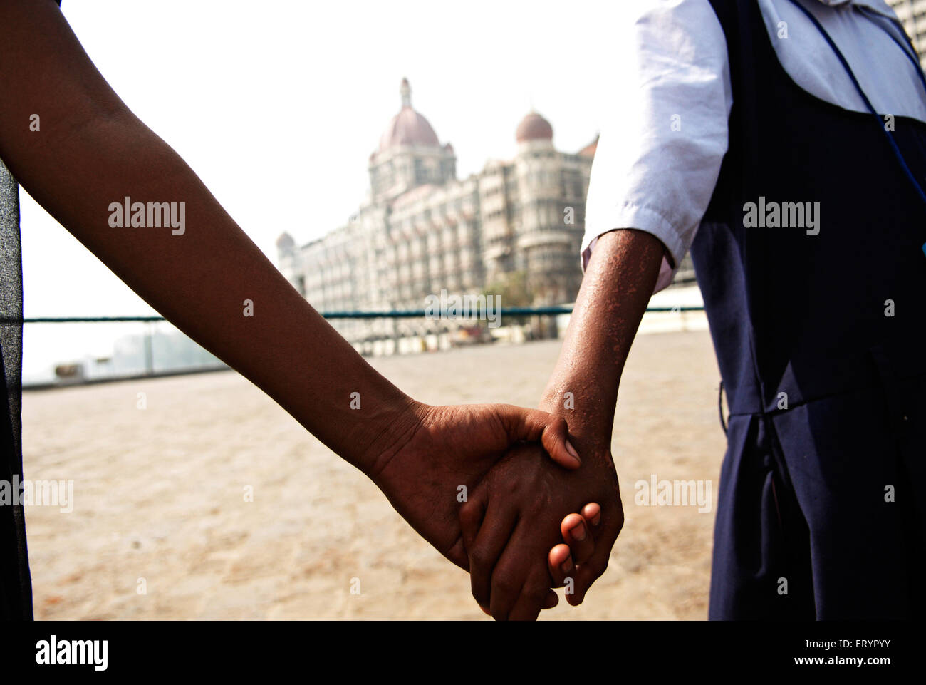 Human chain of unity after terrorist attack by deccan mujahedeen in Bombay Mumbai  ; Maharashtra  ; India 3 December - Stock Image