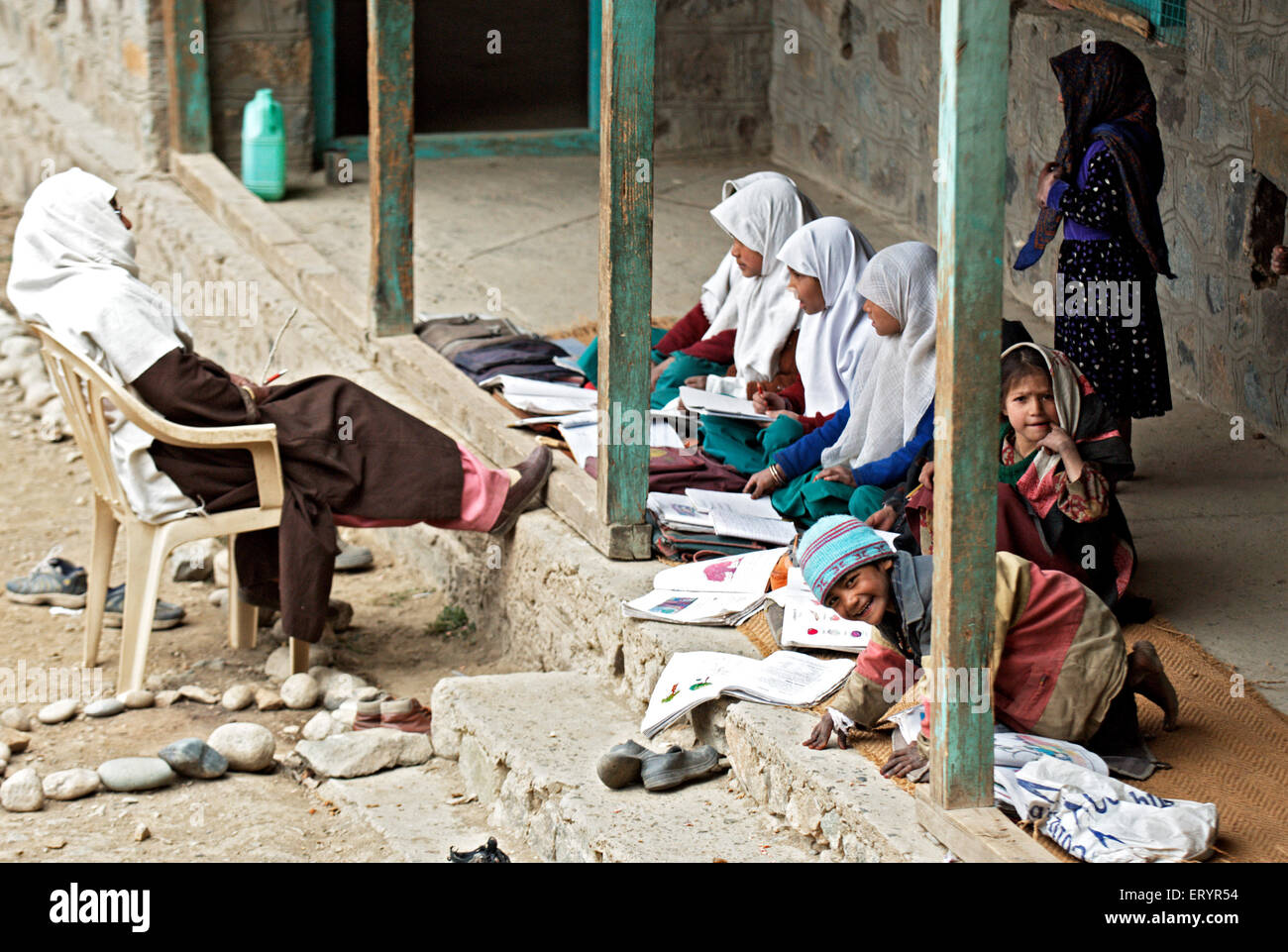 Local primary and secondary school at Kargil ; Jammu and Kashmir ; India 4 October 2008 - Stock Image