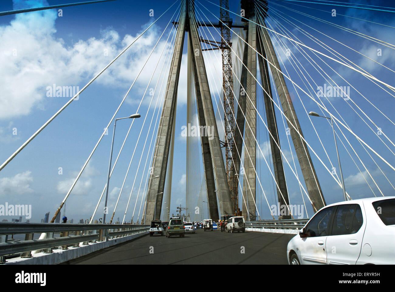 Twin carriageway of bandra worli known rajiv gandhi sea link ; Bombay Mumbai ; Maharashtra ; India 13 June 2009 - Stock Image