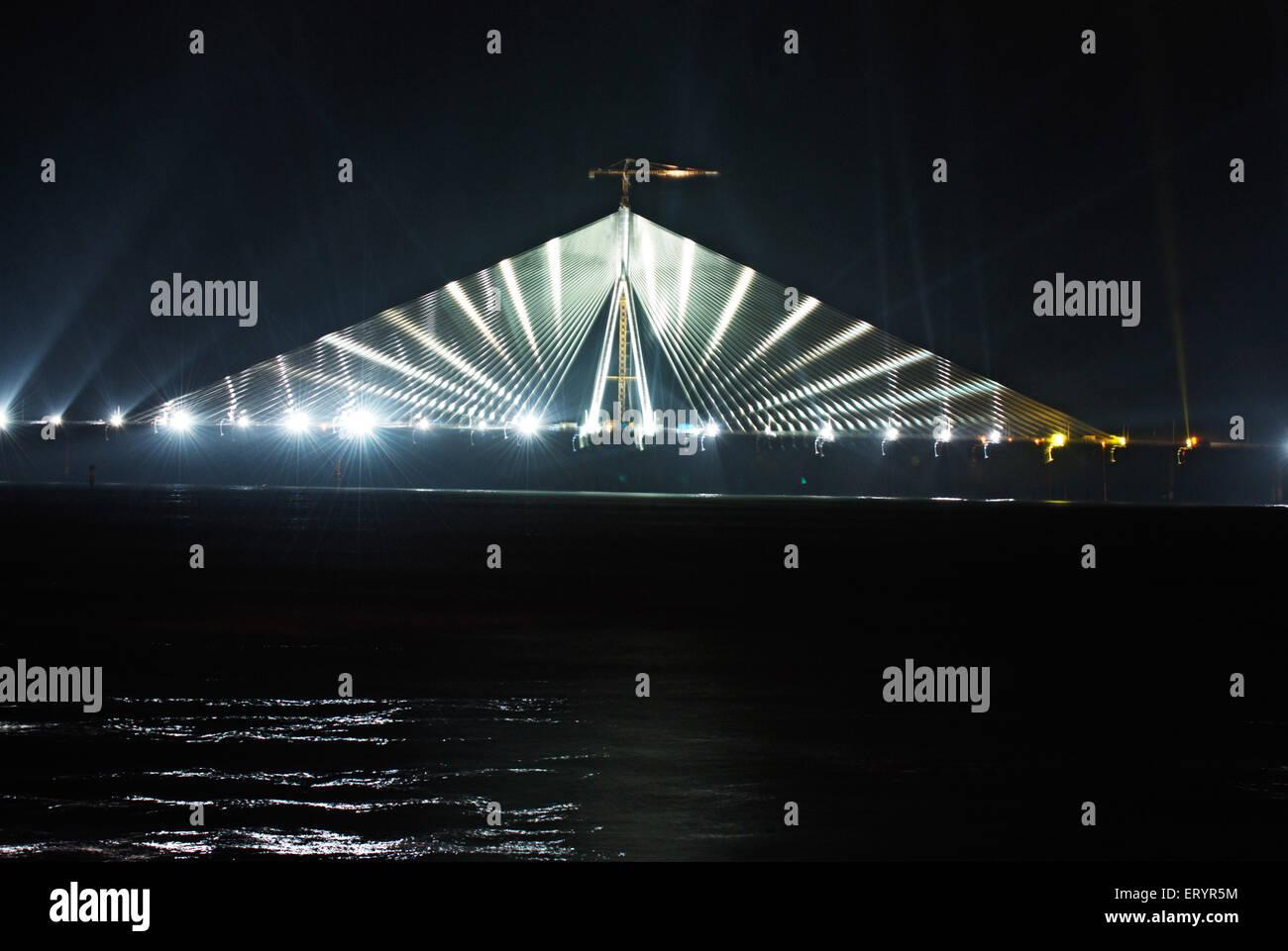 Laser on bandra worli known rajiv gandhi sea link ; Bombay Mumbai ; Maharashtra ; India 29 June 2009 - Stock Image