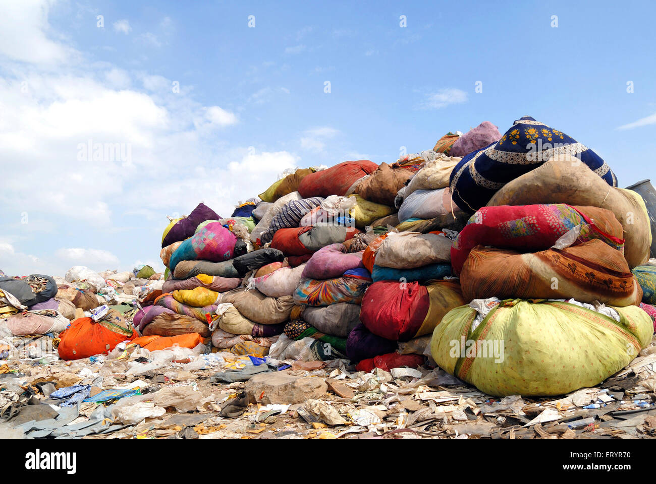 Rag bundles in dumping ground ; Deonar ; Bombay Mumbai ; Maharashtra ; India - Stock Image