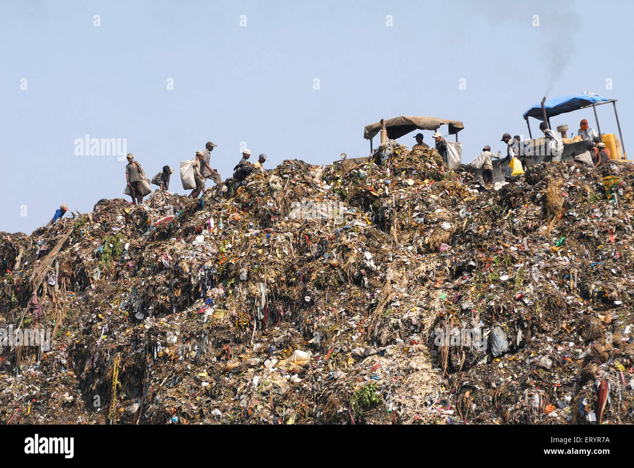Dumping ground ; Deonar ; Bombay Mumbai ; Maharashtra ; India - Stock Image