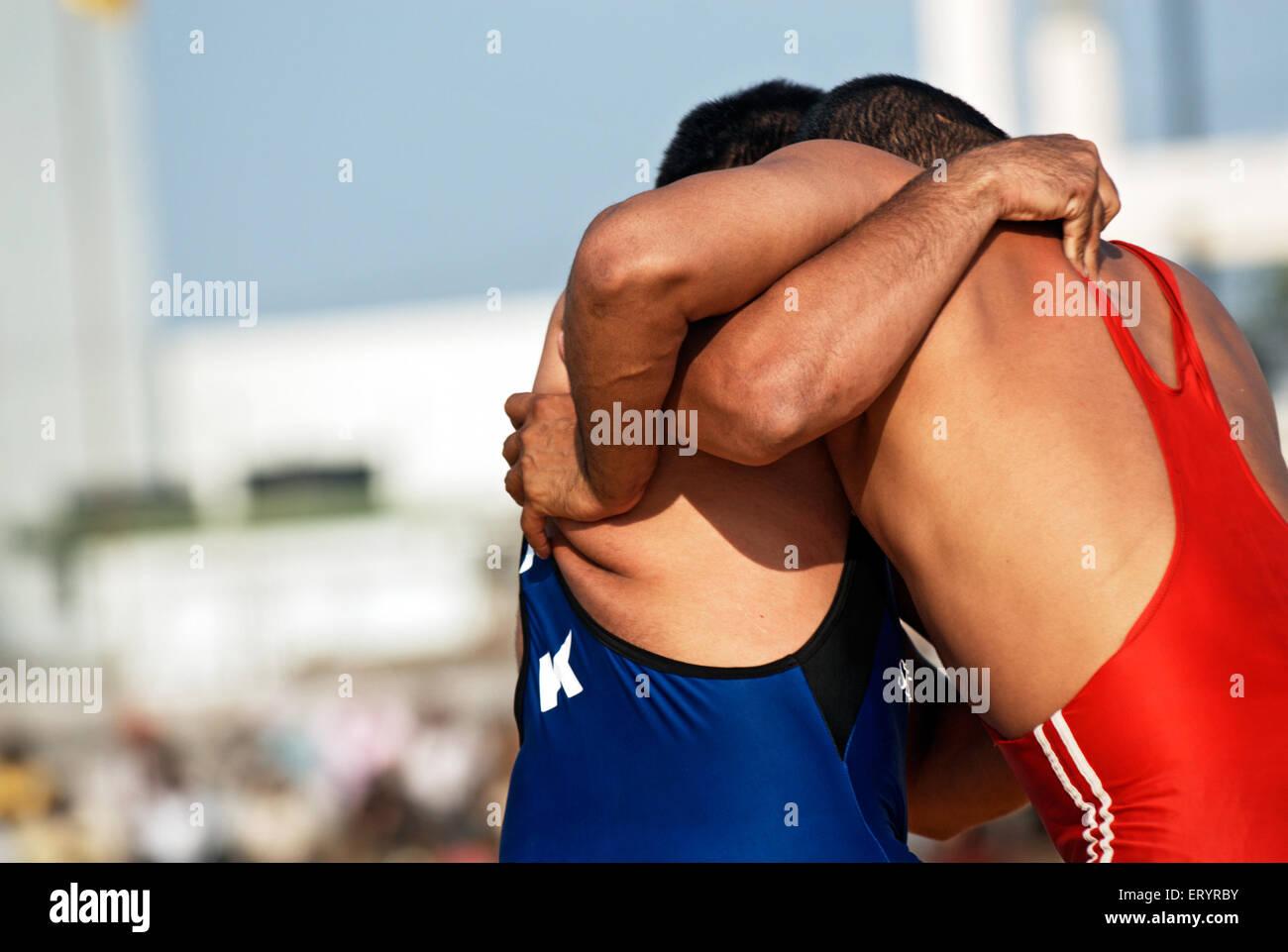 Wrestlers in match ; Nanded ; Maharashtra ; India 1 November 2008 - Stock Image