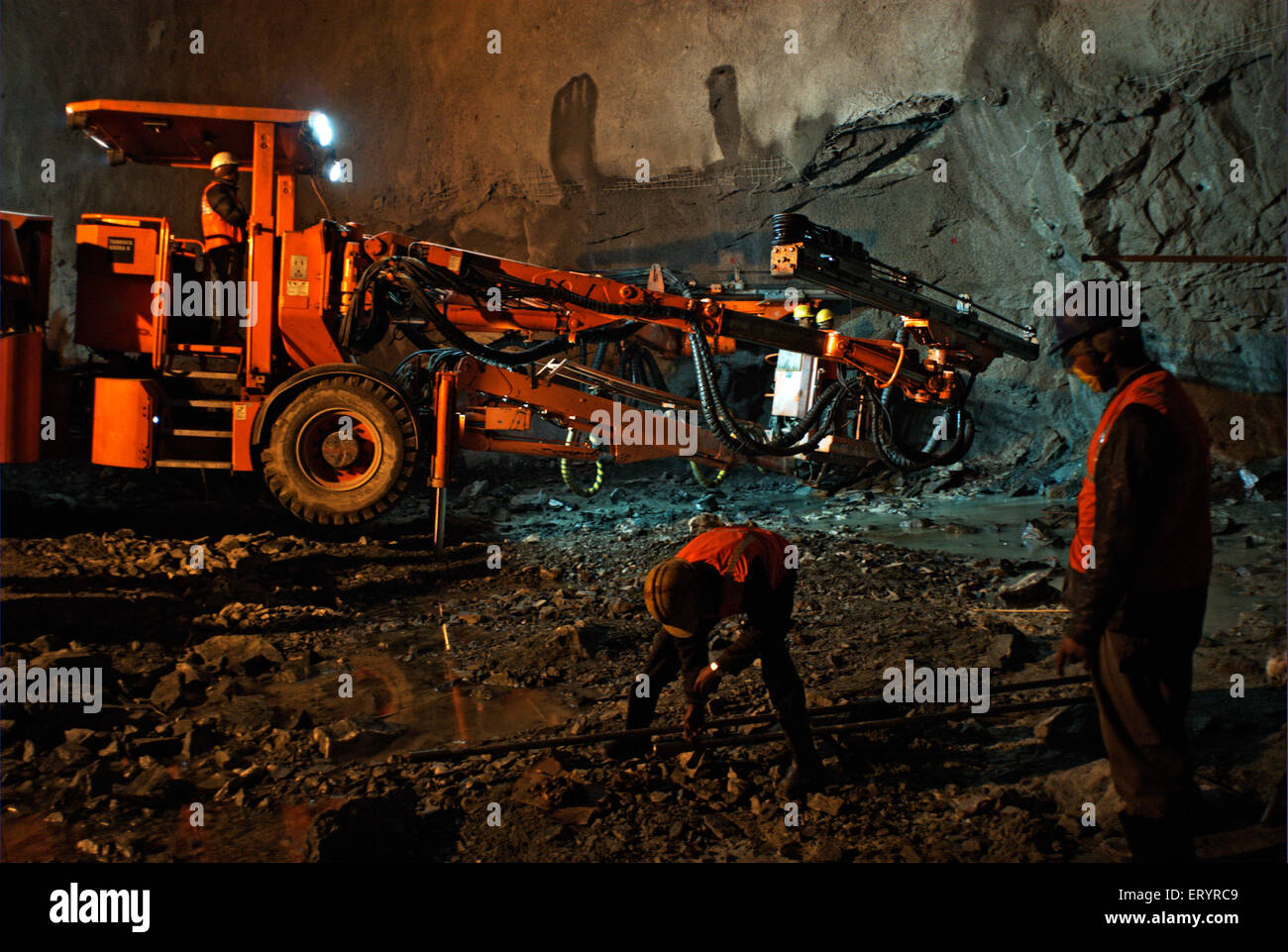 Tunnelling work in progress at Kargil hydraulic project ; Jammu and Kashmir ; India 10 April 2008 - Stock Image