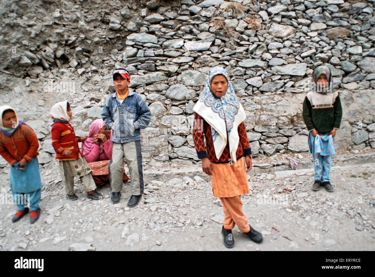 Kashmiri boys and girls at Kargil ; Jammu and Kashmir ; India 10 April 2008 NOMR - Stock Image