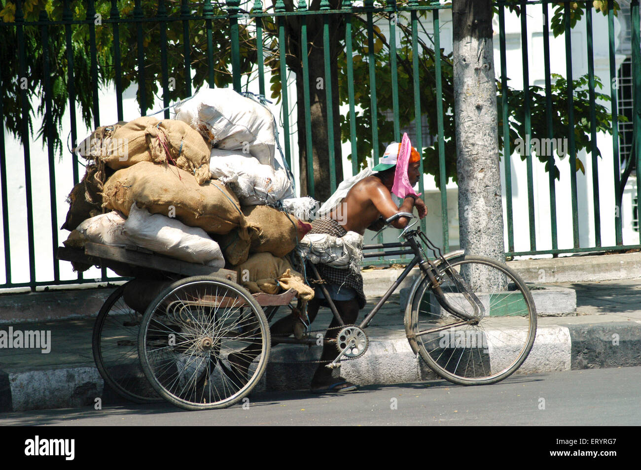 Worker carries heavy goods on tricycle in Hyderabad ; Andhra Pradesh ; India - Stock Image